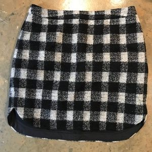 Madewell Black and White Plaid Wool Skirt